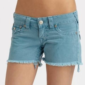 NWT True Religion Keira Raw Hem Denim Shorts